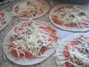 Picture of uncooked tortilla pizza
