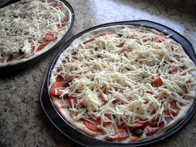 Picture of uncooked pizza