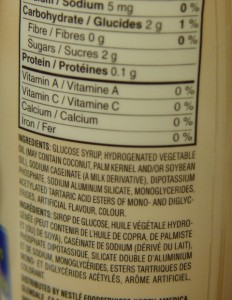 picture of ingredient list containing Mono and Diglycerides of Fatty Acids