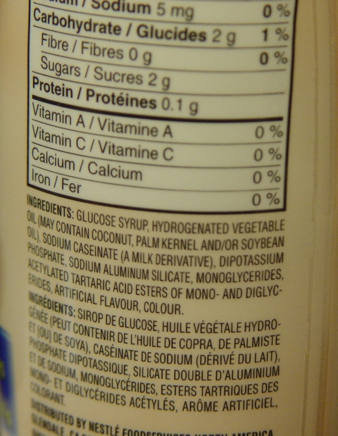 picture of ingredient list