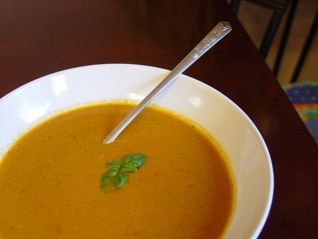 picture of tomato soup with spoon
