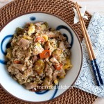 Leftover turkey fried rice -