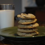 photo of chocolate chip cookies and milk